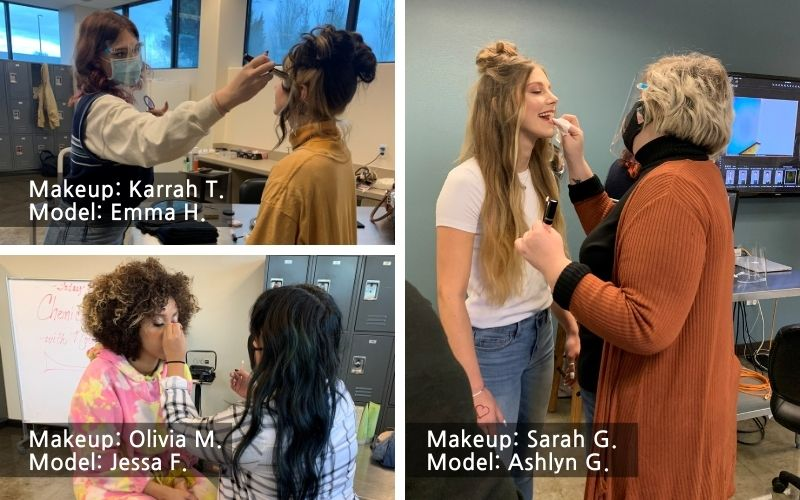 makeup artists and models at Aveda Institute Portland's self love photoshoot