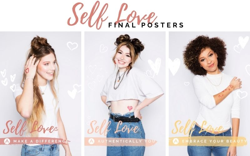 Self love campaign posters with messages about embracing your beauty and making a difference
