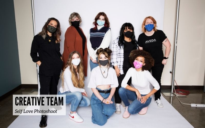 The creative team of hair stylists, makeup artists and models from the self love photoshoot
