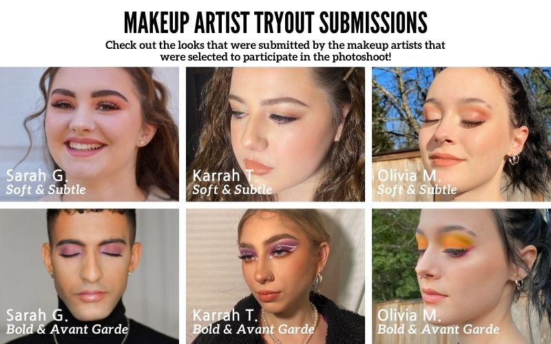 Makeup artist tryout submissions photos of a soft and subtle makeup look and a bold and avant garde makeup look