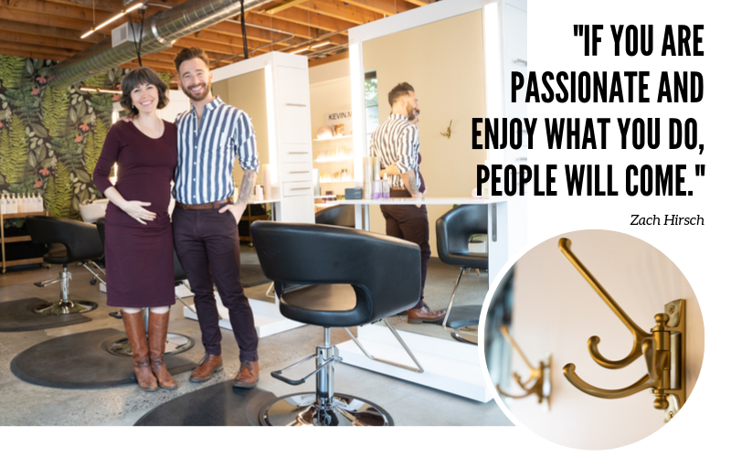 "Aveda Institute Portland Alumni and Co-owners, Harris Zachary Hirsch and Julie Harper opened their own salon. ""If you are passionate and enjoy what you do, people will come."""