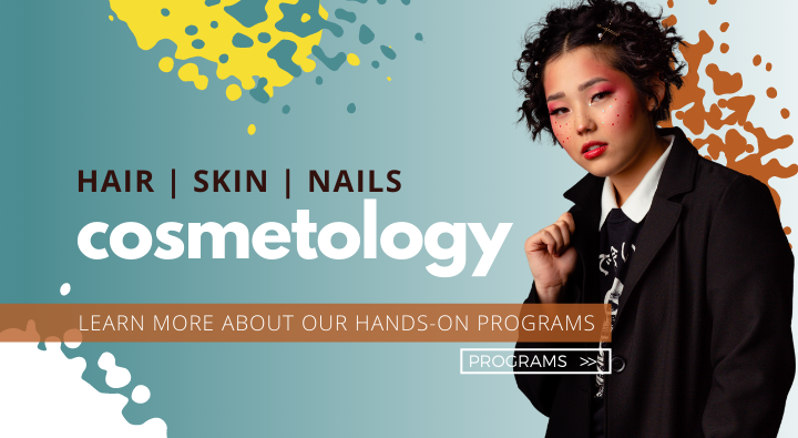 Cosmetology photoshoot look with abstract makeup and hair. Text reading hair skin nails cosmetology