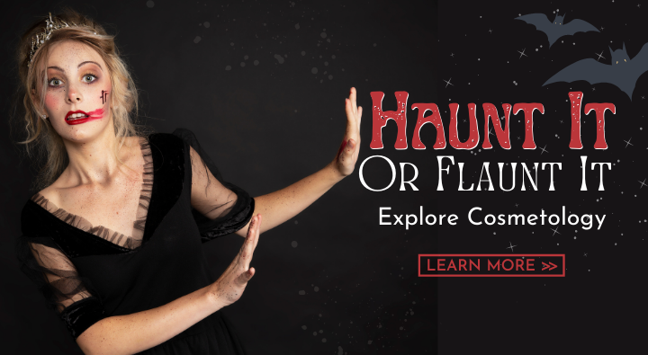 AIP Instructor Creative Team photoshoot image of a spooky disheveled fairytale princess. Haunt It or Flaunt It. Explore Cosmetology and learn more.