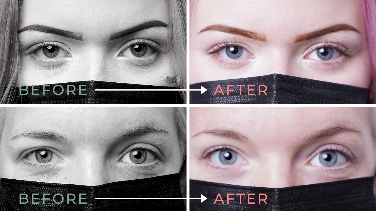 before and after photos from a lash extension workshop at aveda institute portland