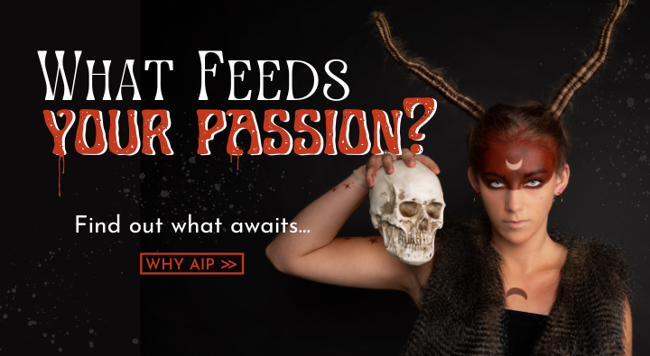 AIP Instructor Creative Team photoshoot image of a Halloween demon with long braided horns and celestial inspired makeup. What feeds your passion? Find out what awaits... WHY AIP?
