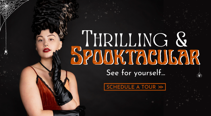 AIP Instructor Creative Team photoshoot image of a glamorous bride of Frankenstein with high finger wave hair. Thrilling and spooktacular. See for yourself and schedule a virtual tour.