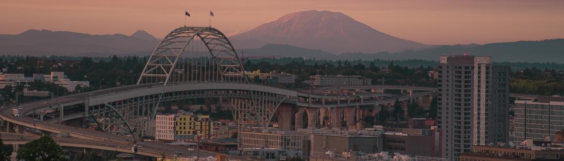 A landscape shot of the Portland cityscape